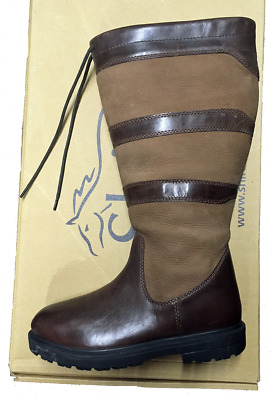 SHIRES LONG LEATHER COUNTRY BOOTS FOOTWEAR STABLE YARD UK 4 EURO 37 Wide Calf