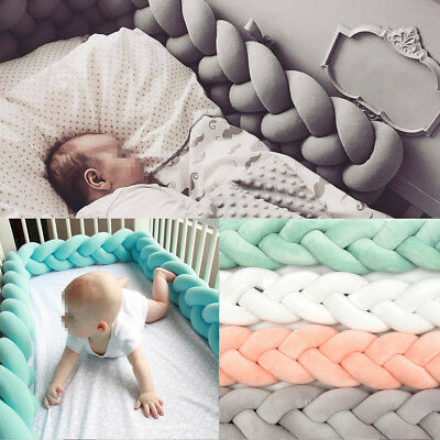 1/2M Baby Infant Plush Crib Bumper Bed Bedding Cot Braid Pillow Pad Protector