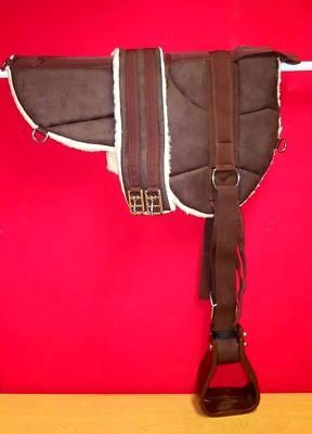NEW Micro suede BAREBACK PAD with Stirrup and girth BROWN SIZE PONY - COB
