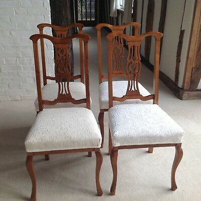 Four Pretty Edwardian Dining Chairs, Cabriole Legs