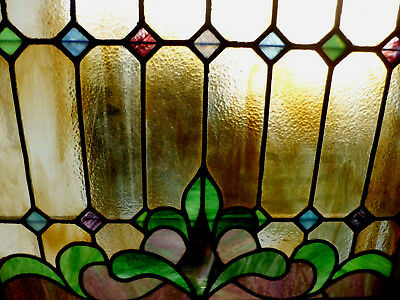 Antique Vtg Church Stained Glass Window Architectural Salvage Arts and Crafts W2