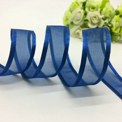 5yds 20mm Navy blue Satin Edge Organza Ribbon Bow Wedding Decoration Lace Craft