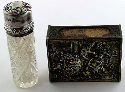 Antique/AS IS Sterling Silver Match Holder w/Town Scene & Glass Perfume Bottle