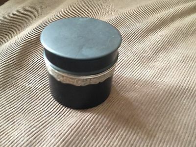 antique ebony and silver screw top pot