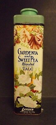 Vintage Lander Gardenia and Sweet Pea Blended Talc Tin FULL Good Condition