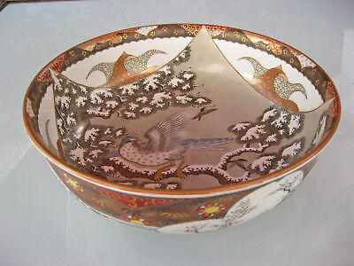 old Kutani Tsukuru Bowl Meiji Period Schale Japan Vase falcon winter Satsuma
