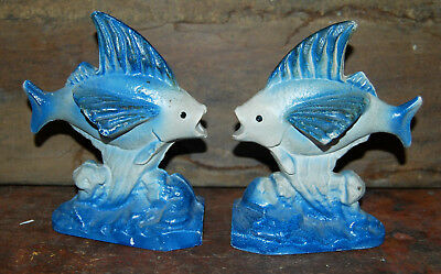 Littco Cast Iron Kissing Fish Bookends Antique Great Finish