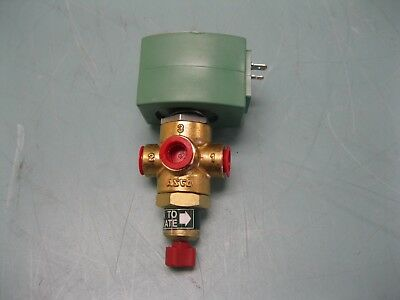"""1/4"""" Asco Red-Hat OPSP8320G174MS 3-Way Solenoid Valve Brass NEW L10 (2273)"""
