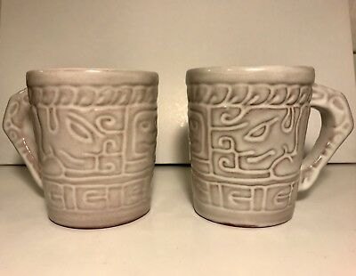 Vintage Frankoma Pottery Set of 2 Mayan Aztec Mugs White Sand 7CL