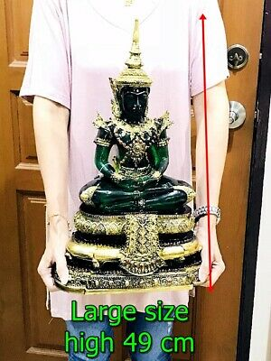 0041-Large Armor Seated Green Emerald Buddha Statue Meditation Amulet Old Gold