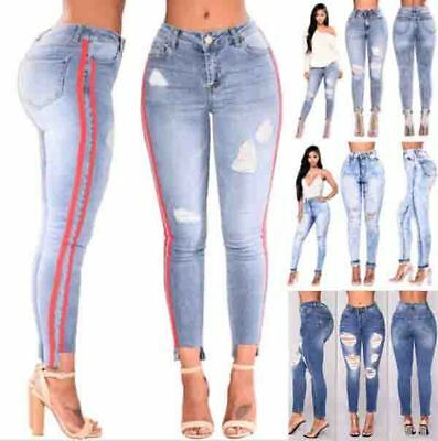 WOMENS PLUS SIZE HIGH WAIST Distressed RIPPED SLIM SKINNY DENIM JEANS MIX PANTS