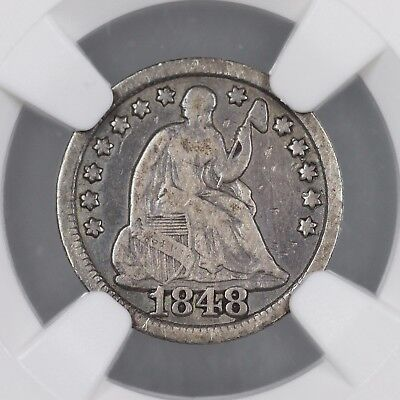 1848 Large Date Seated Half Dime NGC VG 10