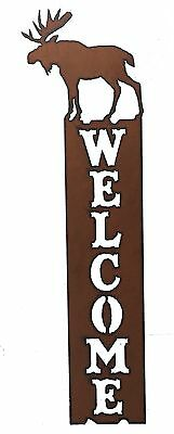 Moose Welcome Sign Cabin Decor Rustic Metal Welcome Sign Vertical