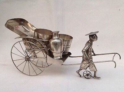 Antique Chinese Export Silver Rickshaw Cruet Set, C.1900/1920 - Signed WK