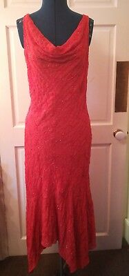 Beautiful elegant beaded orange bias asymmetric embroidered Medici dress 12