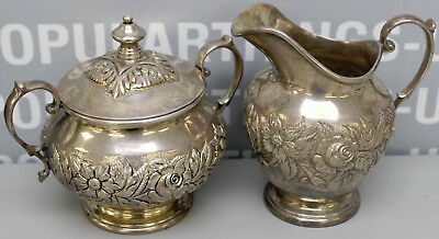 S Kirk & Son Sterling Silver Repousse Chased Sugar w/Lid & Creamer Set 621F