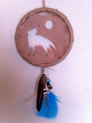 """Cherokee Handmade 13"""" Dream Catcher Real Turquoise & Tiger Eye Nuggets, Feathers"""