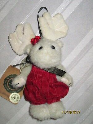 """Boyd's Bear - -New-- Mable Whmoose - White Holiday Plush 7"""" Moose Angel Ornament"""