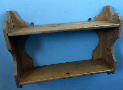 Antique Victorian Pitch Pine Scalloped Book Shelf Wall Mount Ornament Rack c1890