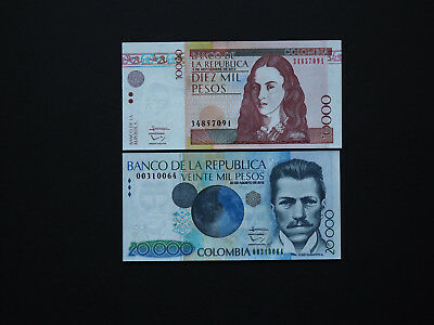 COLOMBIA BANKNOTES  -  Outstanding high value set of two  10k, 20k      MINT UNC