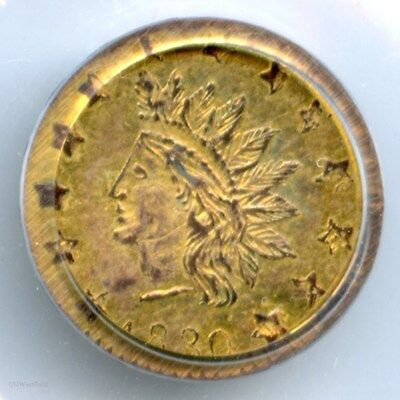 1880/70 Round Indian G50C California Fractional Gold / BG-1067 PCGS AU58 R7 DSII