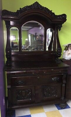 Antique Old Sideboard Hutch Detailed Carvings, Lions Head & Paws Local PA Pickup