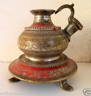 Old Rare Hand Carving Antique Brass Indian Islamic Smoking Hookah Pot Chillam