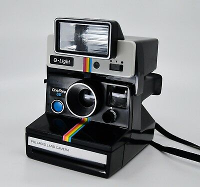 POLAROID SX-70 ONE STEP SE LAND CAMERA 600 RAINBOW BLACK  Q-light