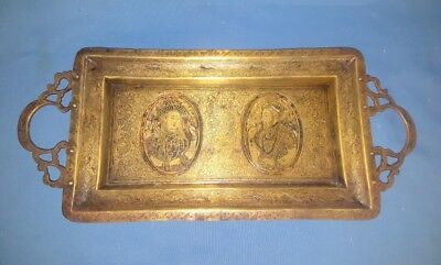 Antique Old Rare Brass Hand Carved Mughal King Queen Islamic Persian Tray Plate