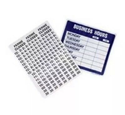 Electrostatic Business Hours Sign Cling USS9573