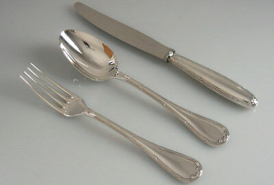Set Of 3 Silverplate Rubans Dinner Couvert By Christofle