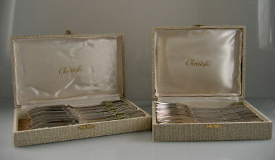 Set Of 24 Silverplate Rubans Fish Couvert By Christofle In Box