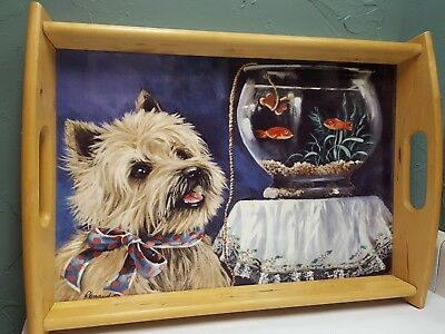 Cairn Terrier Serving Tray Wooden With Handles CairnTerrier