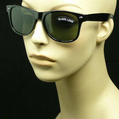 Sunglasses Glass lens anti scratch crystal retro vintage style new green v3