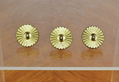 Three Vintage Brass Art Deco Small Miniature Drawer Pulls Accent Decorations