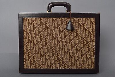 VTG 1970's CHRISTIAN DIOR FRANCE MONOGRAM LEATHER BRIEFCASE LUGGAGE CASE BAG