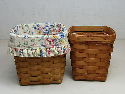 Longaberger Lot of 2 Square Handmade Tall Tissue Baskets Floral Liner No Covers