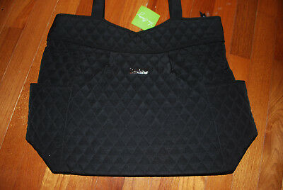 New With Tags Vera Bradley Classic Black  Microfiber Pleated Tote