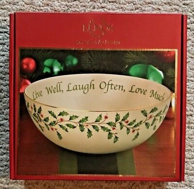 """NIB Lenox Christmas Holiday serving Bowl """"Live well, Laugh often, Love much"""""""