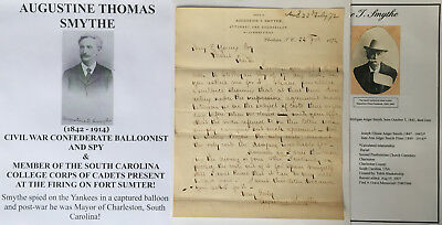 Civil War Confederate Balloonist Spy Sc Corps Cadets Fort Sumter Letter Signed !