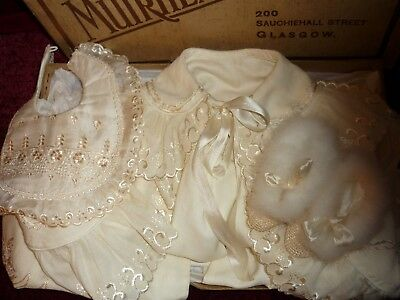 Beautiful Antique Embroidered Baby/Doll Christening Clothes&Box.