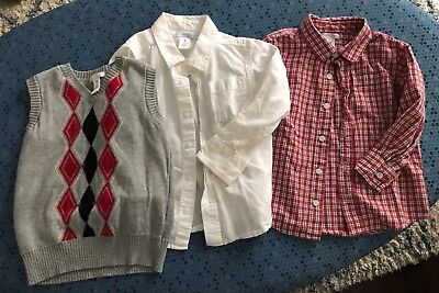 Old Navy Boy's Size 5T LOT Sweater Vest, Button Down Shirts