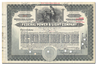 Federal Power & Light Company Stock Certificate