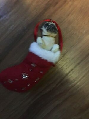 pug christmas ornament in stocking