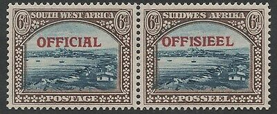 South West Africa 1945 South Africa Overprint Official Sgo22 6D Pair Horizontal