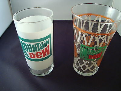 2 - Vintage Collectible Mountain Dew Glasses Old School Logo