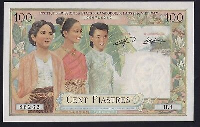 P-103  French Indochina 100 Piastres Laos Issue   1954 UNC  RARE