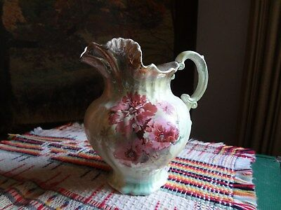 Antique Vintage Pitcher floral/gold trim Collectible Home Decor