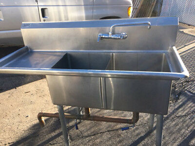 """58"""" Jimex Corp 2 Compartment Sink with Left Drainboard with Faucet"""