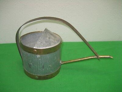 Vintage Galvanized Tin Brass Metal Water Can with Long Spout